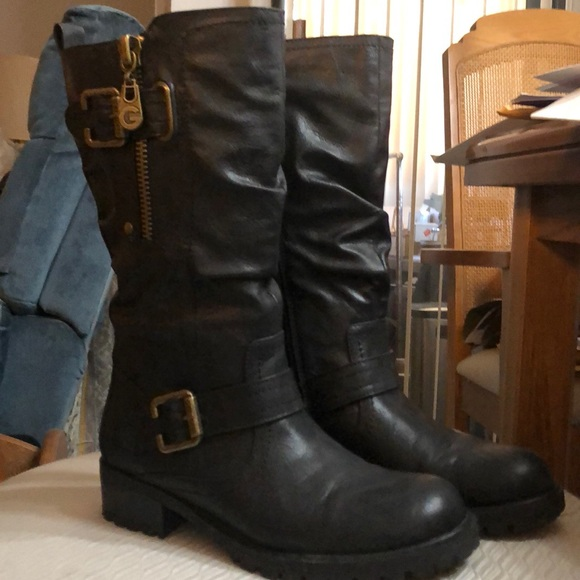 G by Guess Shoes - Black flat under knee boots, G by Guess Brand.